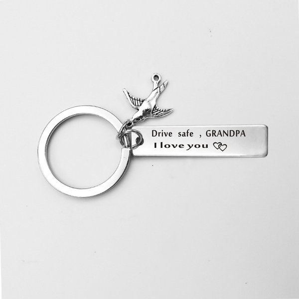 wholesale 10pcs/lot drive safe mom Grandpa Grandma dad mom handsome l love you Engraved pendant key Chain key ring Family jewelry gift