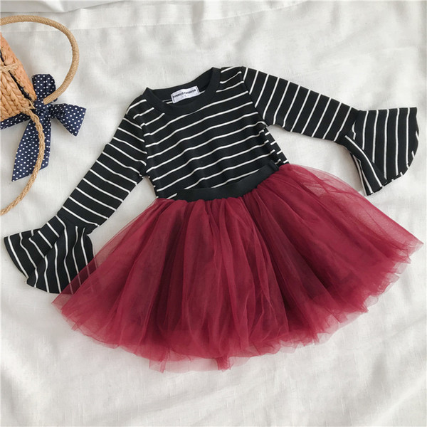 WLG girls spring autumn clothing set kids o-neck striped t shirt and red mesh tutu skirt set baby casual clothes children 1-6T