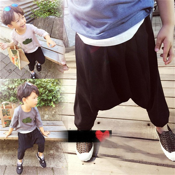 Summer Hot Selling Solid Fashion Children Pants Girls Boys Wild Harem Pants Kids Black Casual Sports Trousers for 2-7 Yrs
