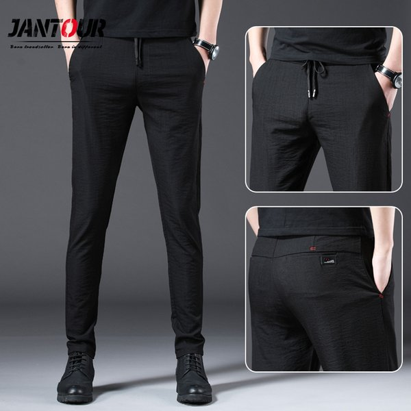 Jantour 2019 Moda Hombre Pantalones Slim Fit Primavera verano Alta Calidad Business Flat Classic Full Length Mid Casual pantalones masculinos