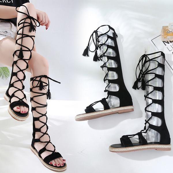 Sandales d'été Sexy2019 pour femmes - chaussures plates - chaussures de Rome - bottes creuses - bottes exposées aux orteils