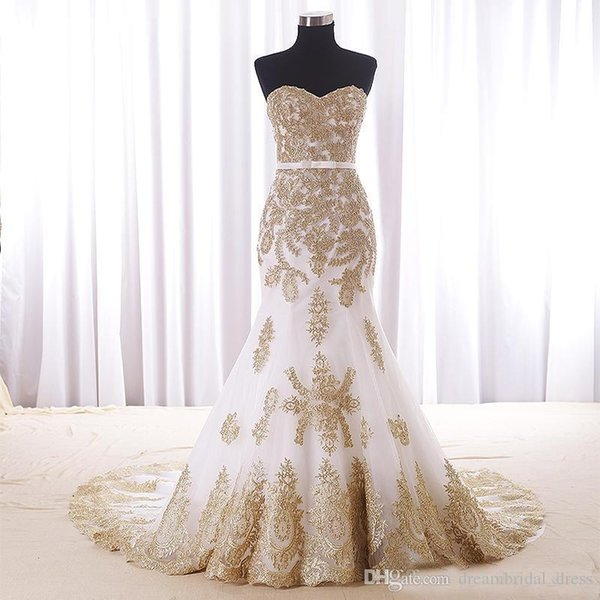 Mermaid Wedding Dresses With Gold Applique Cheap Real Photos Sweetheart Chapel Train Applique Lace Bridal Dress For Women Girls New