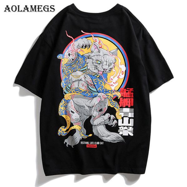 Aolamegs Uomo T Shirt T-shirt da uomo stile giapponese stampato O-Collo T Shirt manica corta Moda High Street Tees Streetwear Y19060601