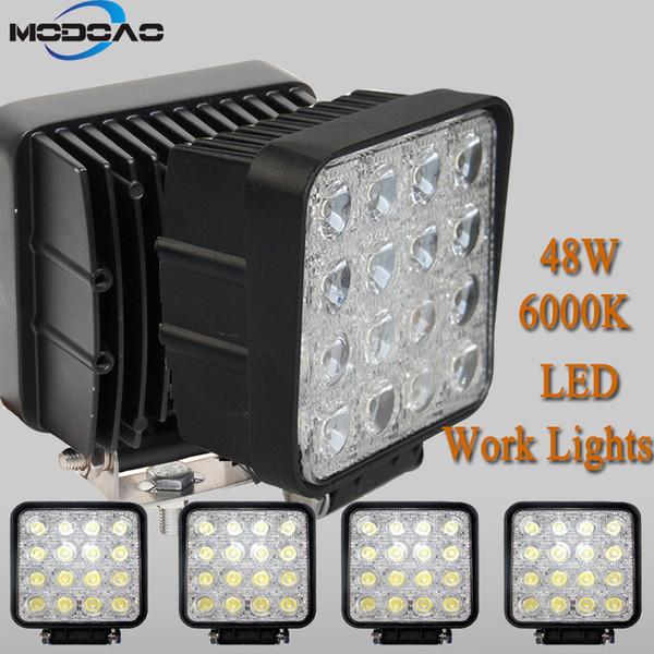 16LEDs 48W SUV Phares 6000K Blanc Couleur Light Bar 4 * 4 véhicules légers travail LED camion pour SUV, UTV, ATV
