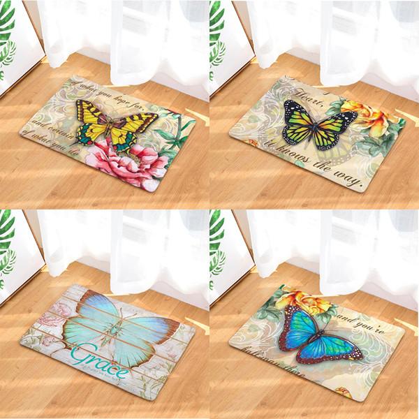 Rétro Vintage Papillon Paillasson Bain Cuisine Tapis Décoratif Anti-Slip Mats Salle De Voiture Plancheron Tapis Porte Home Decor Cadeau