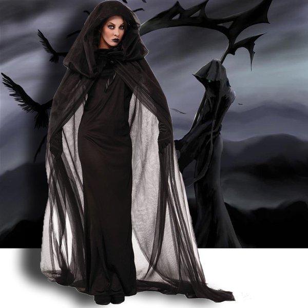 HOT Хеллоуин костюм для взрослых смерти ночь блуждающих душа женского призрака костюма ведьма одежды косплей единообразного X9243025