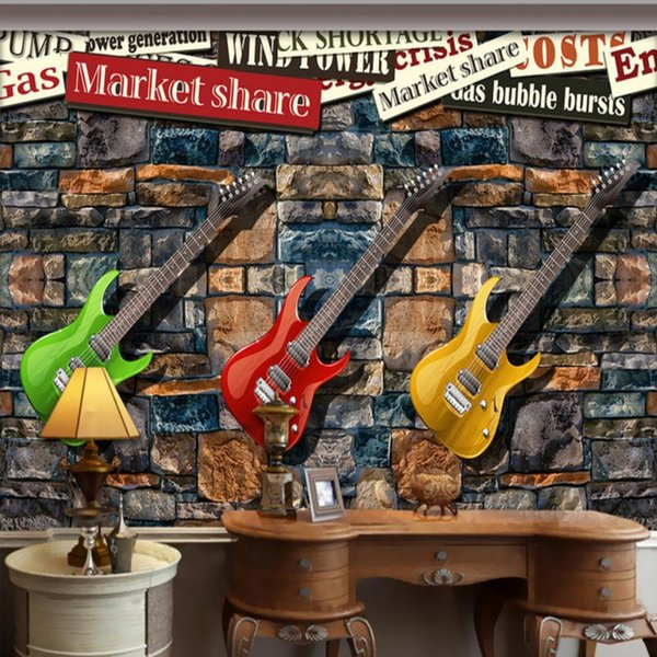 guitar wall decor.htm drop shipping custom photo wallpaper european american style stone  drop shipping custom photo wallpaper