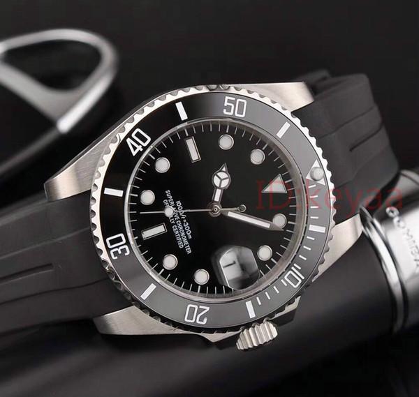 Caucho Negro Top de lujo Bisel de cerámica para hombre Reloj mecánico de acero inoxidable Movimiento automático Reloj deportivo Relojes de pulsera