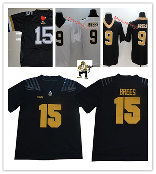 new style 356d8 881de 2019 New Style! Mens NCAA #15 Drew Brees Purdue Boilermakers FOOTBALL  Jersey Stitched Black White #9 Drew Brees New Orleans Jersey From Xt23518,  ...