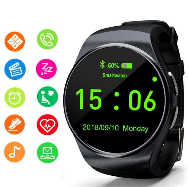 kw18 smart watch plug sim card call round dial bluetooth wear heart rate blood pressure monitoring sports gift bracelet 2019 new
