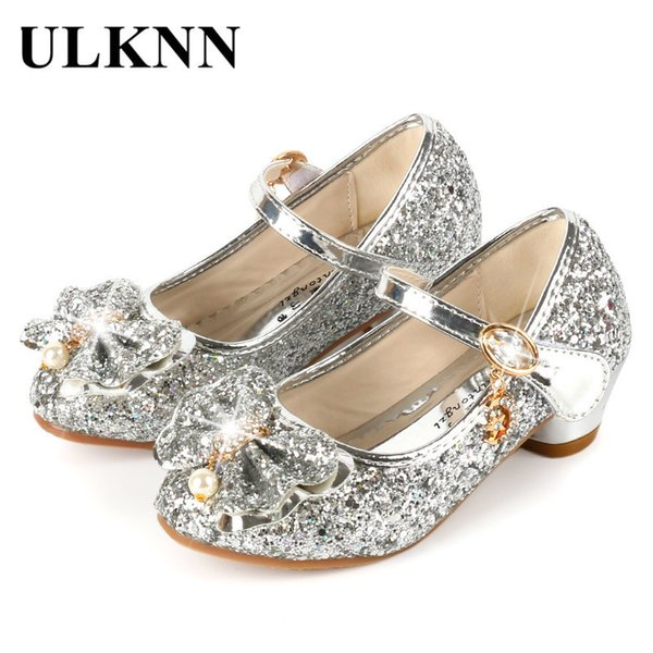Ulknn Princess Kids Leather Shoes For Girls Flower Casual Glitter Children High Heel Girls Shoes Butterfly Knot Blue Pink Silver Y19051303