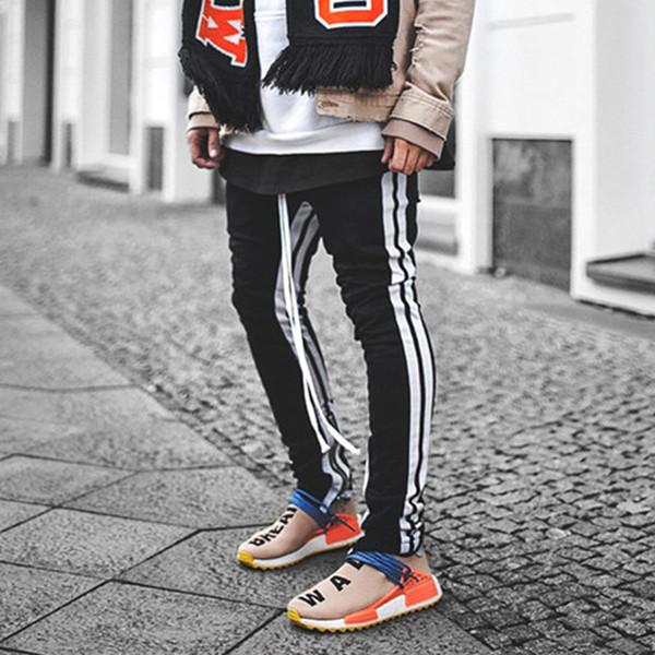 Just Don Mens Drop Skinny Side Stripe Track Pantalones de chándal FOG Justin Bieber Hip Hop Estilo Slim Fit Crawler Leg Zip Vintage Joggers Pantalones