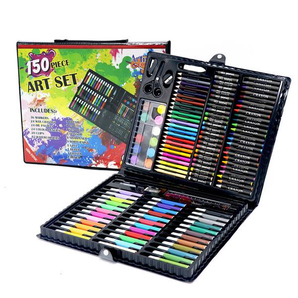 Дети Art Набор детского рисунка Набор воды цвета пера Crayon масляная пастель живопись Инструменты рисования Art поставляет набор канцелярских принадлежностей 150 Pcs SH190919