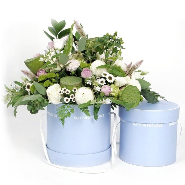 2pcs/set High Quality hand cylindrical bucket gift box flower bouquet packaging box free shipping