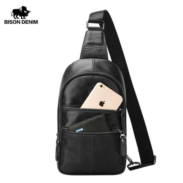 BISON DENIM Men's Crossbody Bag Genuine Leather Chest Bags Men Shoulder Bags Casual Strap Pack Male Bag W2445