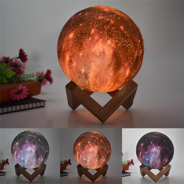 LED 3D Mond Sternenhimmel Farbe Gemalte Muster Globuslampe Glowing Luna 3,15 '' Mini Nachtlicht Schlafzimmer Dekoration Fernbedienung 8 cm 16-Farben