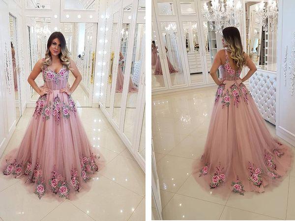 Eine Linie Rosa Tüll Stickerei Afrikanische Abendkleider Lange Rachel Allan 2019 Neue Elegante Abendkleider Abendkleider