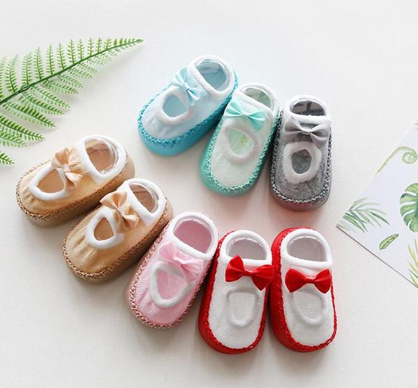 Vente en gros Vente chaude du nouveau-né chaussettes en coton bébé enfant en bas âge Chaussette Chaussures étage non-Slip Chaussettes Cartoon Bow pour 0-1-3 ans Enfants 0990