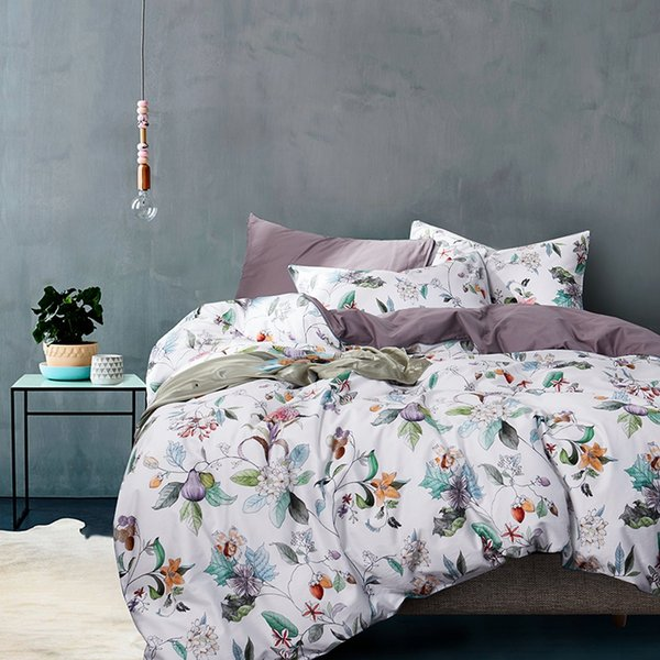 TUTUBIRD-European Satin bedding set 100% Egyptian cotton pastoral princess bed sheet linen duvet cover queen king size 4pcs