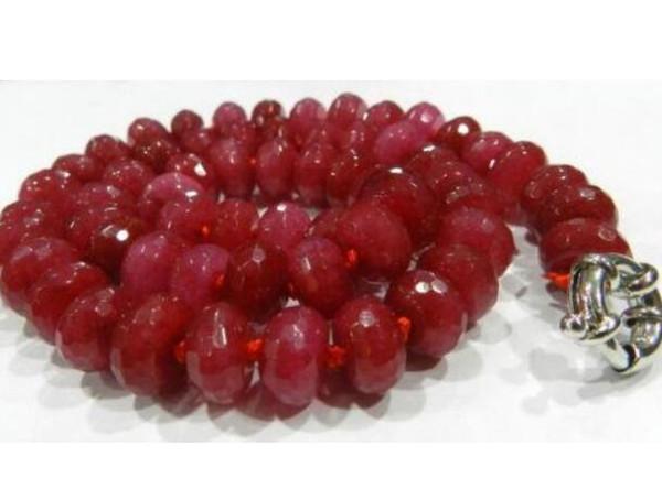 LIVRAISON GRATUITE + Nouveau Collier Abacus Rouge à Facettes 5X8mm 17