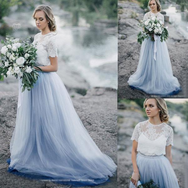 Elegant Dusty Blue Wedding Dress Tulle Bridal Gowns With Lace Tops Jacket Boho Wedding Dress Vestido de Noiva