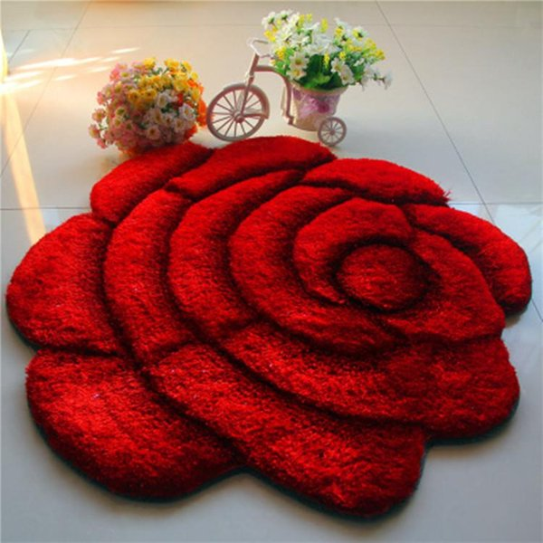 Transporte da gota Flor Rosa forma Tapetes para sala de estar tapete Sofá Mesa Tapete Quarto Decoração de Casamento Em Casa tapetes de Cama