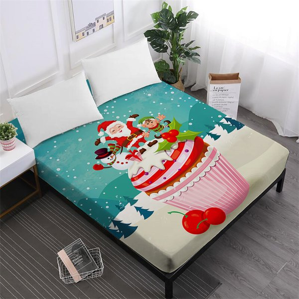 Merry Christmas Bed Sheet Sweet Cake Festival Gift Fitted Sheet Cartoon Santa Claus Snowman Print Bedclothes Home Textile