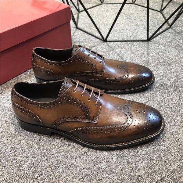 En gros marque designer hommes robe chaussures tout cuir véritable designer affaires hommes chaussures multicolore brogue chaussures taille 38-45 B100511W