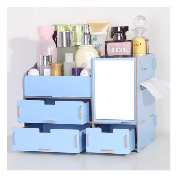 1 Pcs Wooden Storage Mirror Dressing case Container Makeup Organizer Case Handmade DIY Assembly Cosmetic Organizer Wood