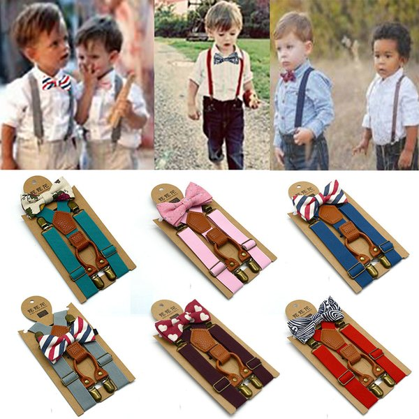 Baby High Elastic Bow Ties Set Baby Boys Toddler Wedding Matching Braces Suspenders Bowknot Kids Gentle Bow Ties with Metal Clip LE196