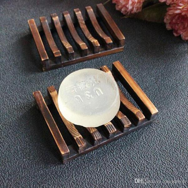 Style vintage salle de bains Soap Plateau main en bois plat Boîte Porte-savon en bois en tant que titulaire Accessoires pour la maison Accessoires de bain