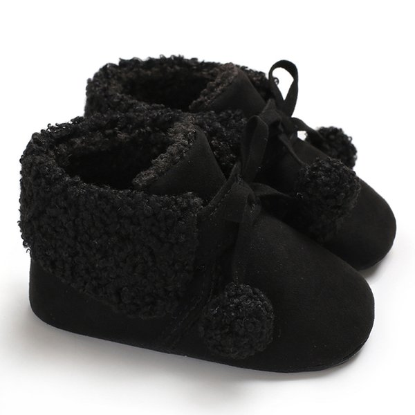 LONSANT Infant Baby Girls Boys Crib Shoes Solid Lace-Up Soft Booties winter Snow Boots Toddler Warm Hair Ball cute Shoes