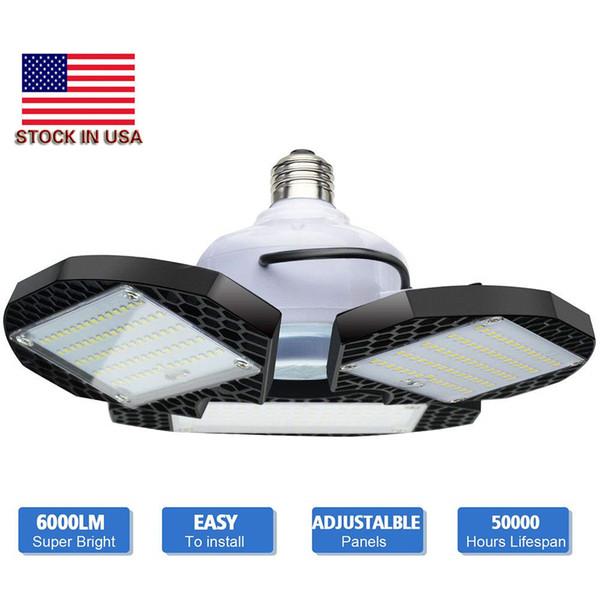 top popular LED Garage Lights Deformable LED Garage Ceiling Lights 60W 80W CRI 80 Led Shop Lights for Garage with 3 Adjustable Panels 2019