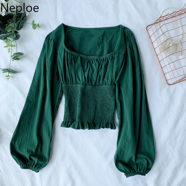 Neploe Retro Lantern Sleeve Blusas Square Collar Solid Pleated Blouse Women Slim Waist French Style Shirt 45170 SH190803