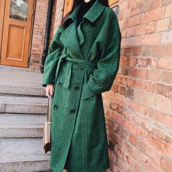 Lanmrem 2018 Moda Autunno Doppiopetto Notech Casual Allentato Grande formato Lungo Plaid verde Cappotto di lana da donna Ua26406 T190801