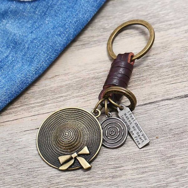 Hot Sale Cartoon Hat Key Chains Pendant Copper Alloy Car Keyring Retro Cowhide Leather Keychains For Men Jewelry Accessories