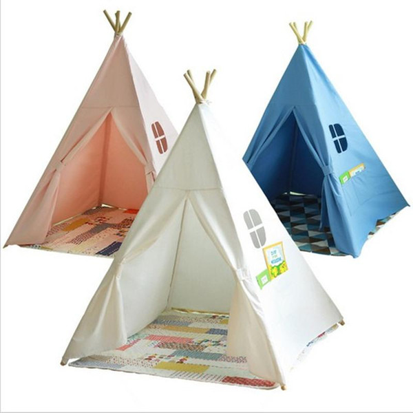 Quattro polacchi bambini Teepees Kids Play Tent Cotton Canvas Teepee Playhouse bianco per la stanza Tipi