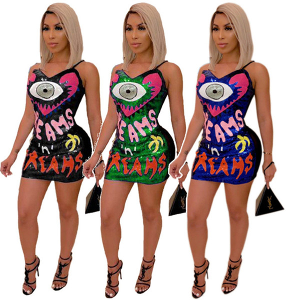 Femmes Paillettes Mini Robes Sheer V-cou Dress Sexy Bodycon Strap Night Club Robes Party Jupe Eté Plus La Taille S-2XL Vente Chaude DHL 479