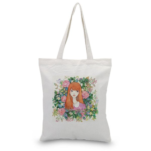 Canvas Tote Shoulder Bags Cartoon girl Handbags Daily Use Shopping Bag Custom Print Logo DIY Eco Reusable Recycle