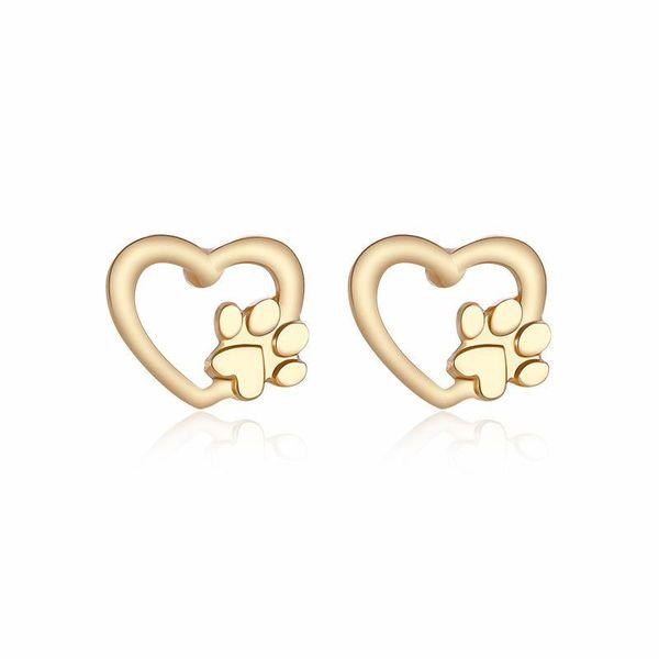 Hund Pfotenabdruck Ohrringe Für Frauen Hohle Liebe Herz Ohrstecker Gold Silber Metall Tier Pet Earing Weihnachten Weihnachten Schmuck Geschenke