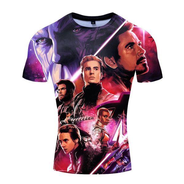 3D men short-sleeved T-shirt digital printing stretch tights quick-drying fitness clothes street hip-hop high street sweatshirt