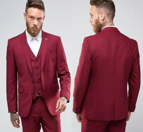 Nuevo diseño Rojo Slim Fit Novios Esmoquin Muesca Solapa Centro Vent Padrinos de boda para hombre Vestidos de novia Excelente traje de hombre (chaqueta + pantalones + chaleco)