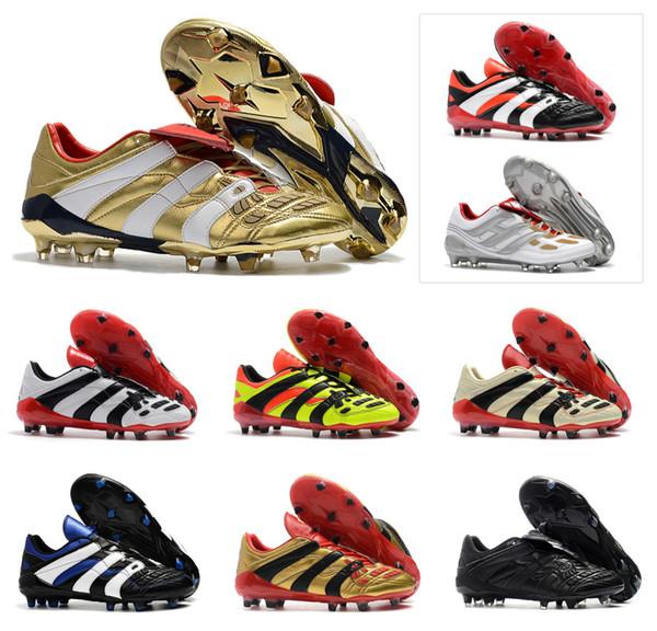 Hot 2018 Predator Acelerador Electricidad FG DB Golden Zidane ZZ Beckham se convierte en 1998 98 Hombres zapatos de fútbol botines botas de fútbol Tamaño 39-45