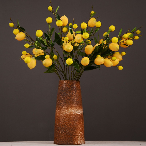 Simulation Green Plant Factory Direct Artificial Fruit Fake Flower Wholesale Yellow Berry Simulation Fruit Tree Branch