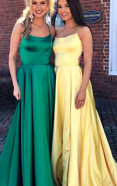2019 New Designer Halter Evening Prom Dress Long Soft Satin Open Back Vestido De Novia Dresses Evening Wear Formal Party Dress Cheap Girls