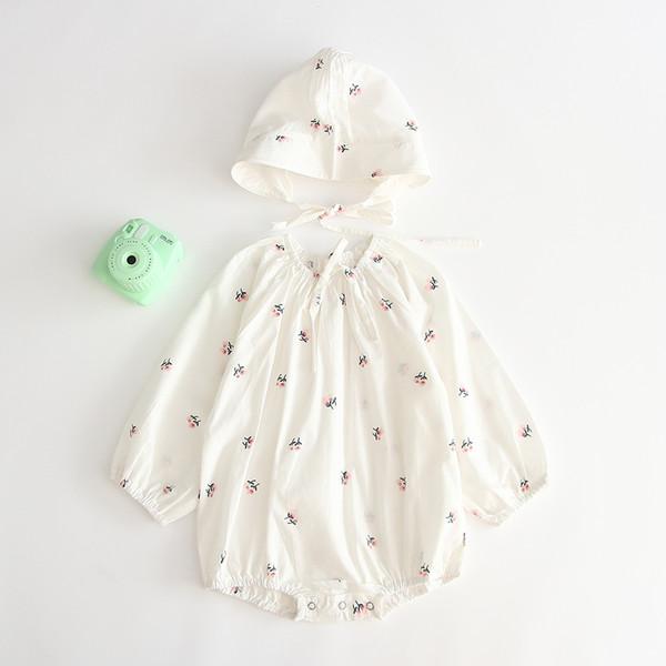 baby kids designer kleidung strampler oansatz langarm lolita wurf blumendruck weiß strampler mit hut kleidung 100% baumwolle mädchen strampler 0-2 t