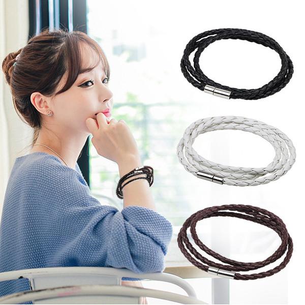 L'Europa e gli Stati Uniti semplici uomini e donne multistrato intrecciato a spirale di rame fibbia in pelle moda gioielli braccialetto braccialetto all'ingrosso