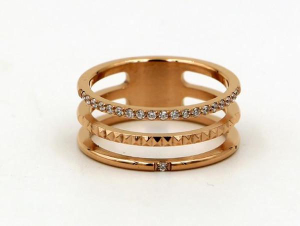 Hollow three-layer gear micro-drilled diamond ring ring Korean fashion tide female titanium steel belt diamond ring