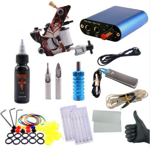 Complete Tattoo Kit Professional Beginner Machine Set 8 Wrap Coils Tattoo Gun Pigment Induction Tattoo Power Supply Set