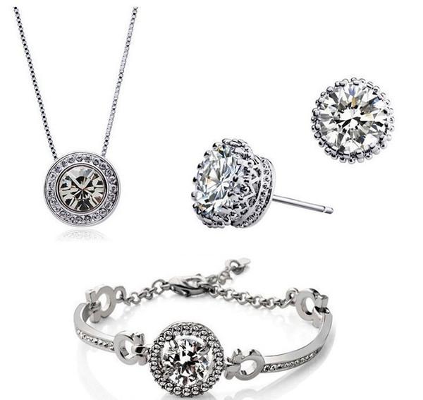 New Fashion 18K Gold Plated Austrian Crystal Necklace Bracelet Earrings Jewelry Set Made With SWAROVSKI ELEMTNS Wedding Jewelry 3pcs/Set